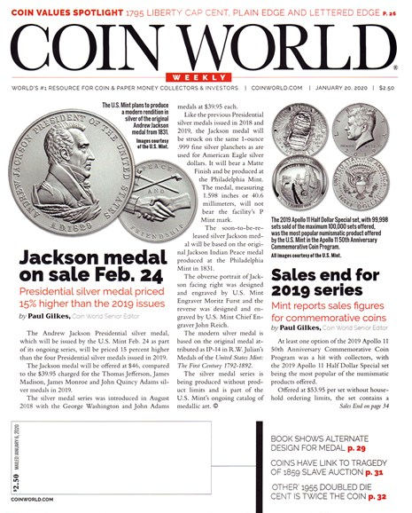 Coin World Weekly Cover - 1/20/2020