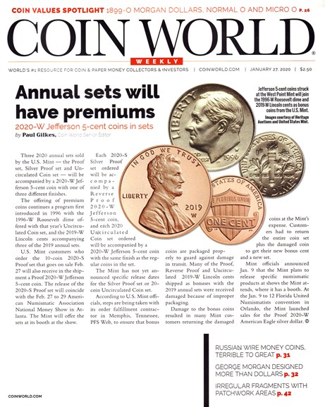 Coin World Weekly Cover - 1/27/2020