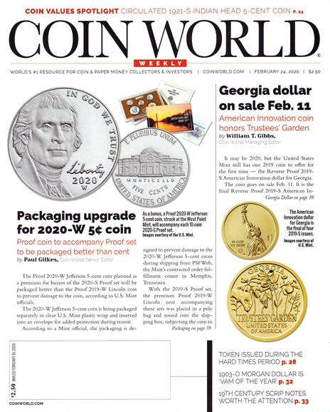 Coin World Weekly Cover - 2/24/2020