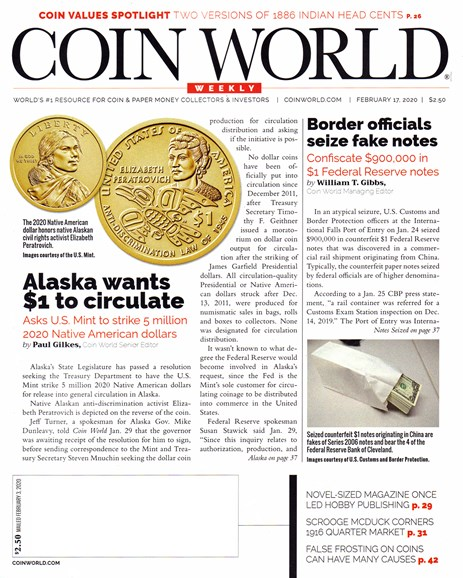 Coin World Weekly Cover - 2/17/2020