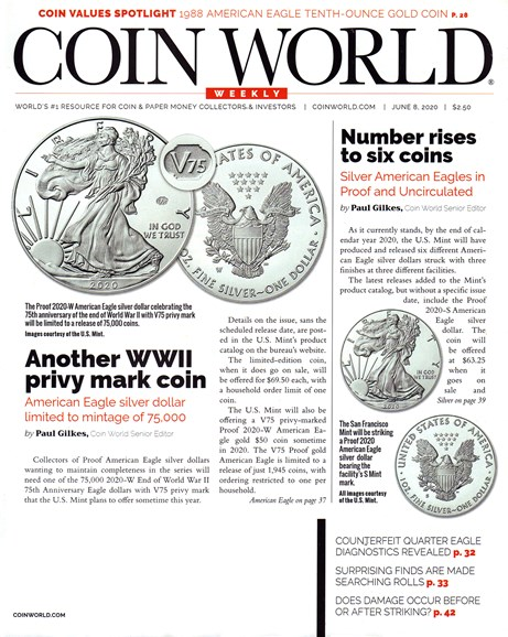 Coin World Weekly Cover - 6/8/2020