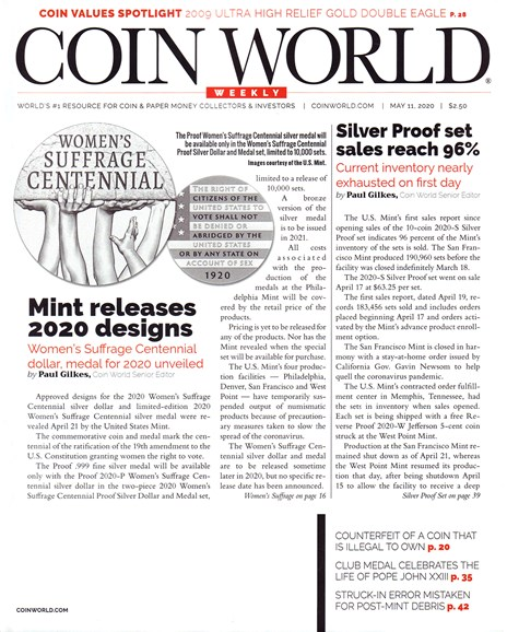 Coin World Weekly Cover - 5/11/2020
