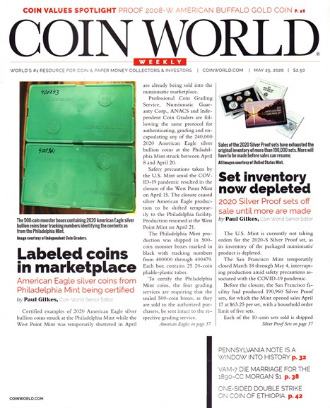 Coin World Weekly Cover - 5/25/2020