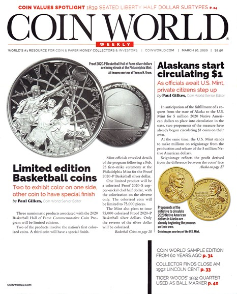 Coin World Weekly Cover - 3/16/2020