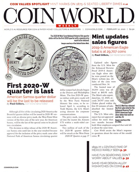 Coin World Weekly Cover - 2/10/2020