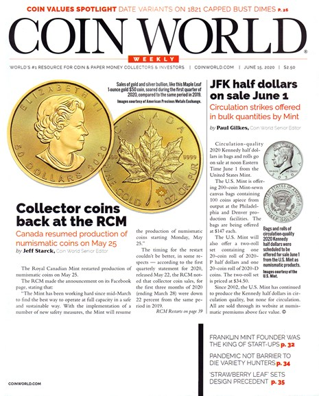 Coin World Weekly Cover - 6/15/2020