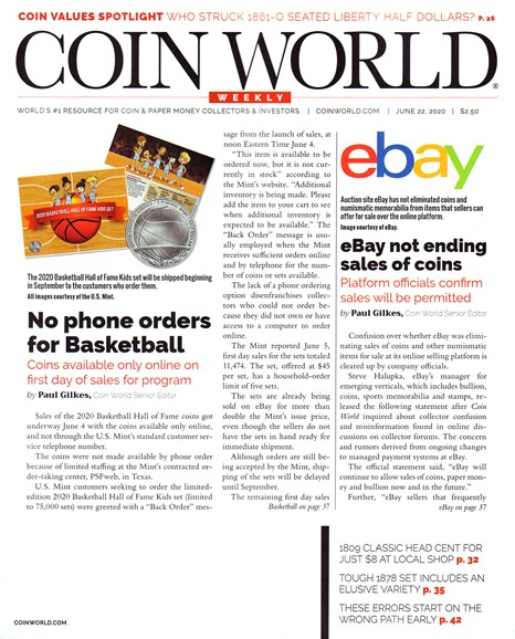 Coin World Weekly Cover - 6/22/2020