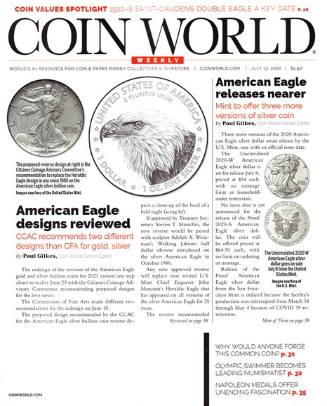 Coin World Weekly Cover - 7/13/2020