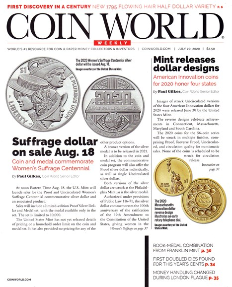 Coin World Weekly Cover - 7/20/2020