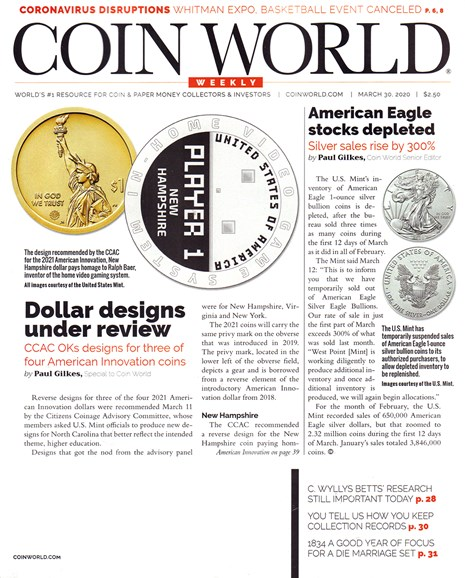Coin World Weekly Cover - 3/30/2020