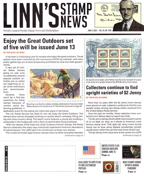 Linn's Stamp News Weekly Cover - 6/8/2020