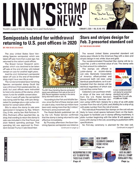 Linn's Stamp News Weekly Cover - 2/3/2020