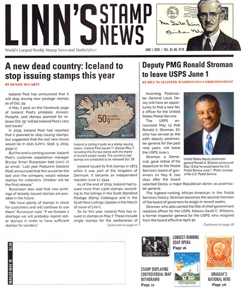 Linn's Stamp News Weekly Cover - 6/1/2020