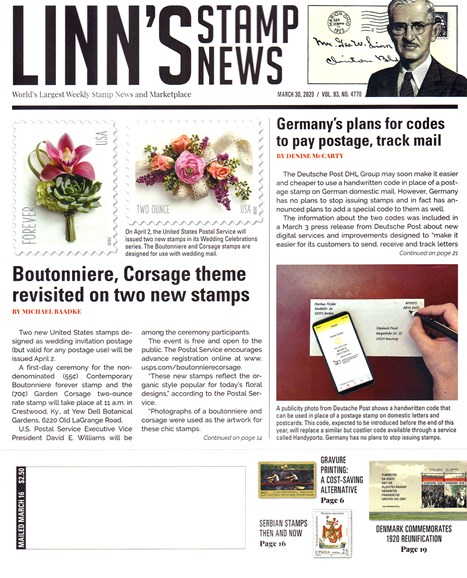 Linn's Stamp News Weekly Cover - 3/30/2020