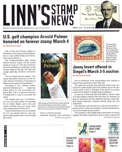 Linn's Stamp News Weekly Cover - 3/2/2020