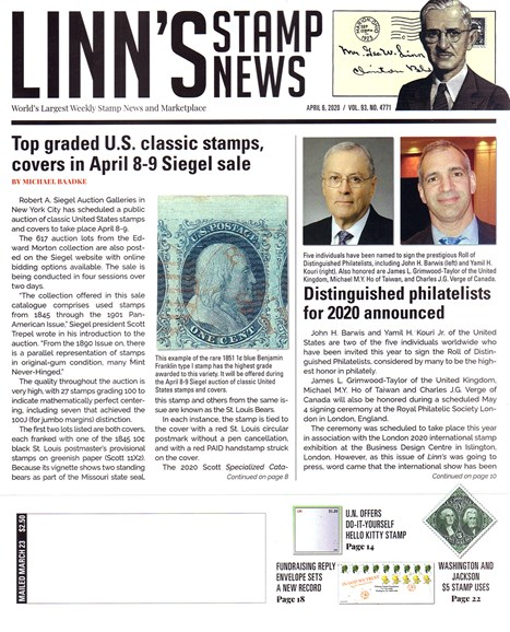 Linn's Stamp News Weekly Cover - 4/6/2020