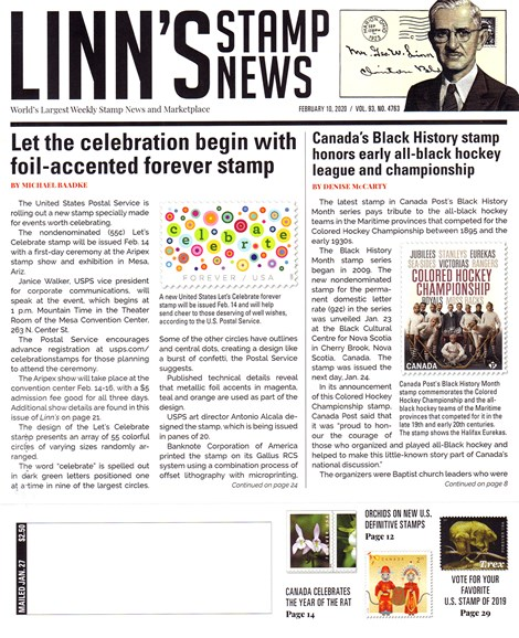 Linn's Stamp News Weekly Cover - 2/10/2020