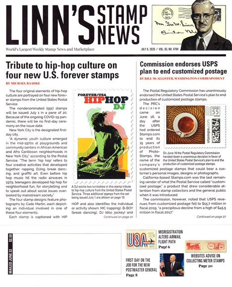 Linn's Stamp News Weekly Cover - 7/8/2020