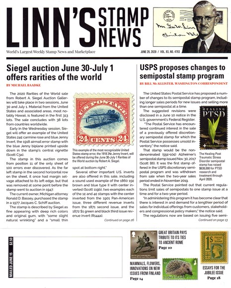 Linn's Stamp News Weekly Cover - 6/29/2020