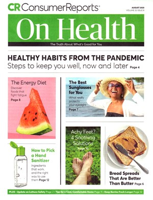 Consumer Reports On Health Magazine | 8/2020 Cover