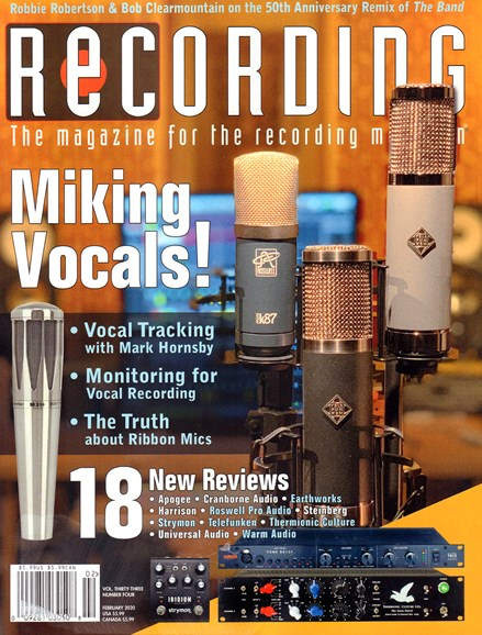 Recording Magazine Cover - 2/1/2020