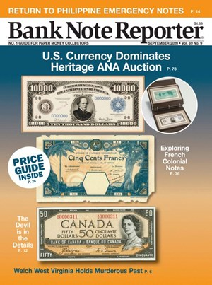Bank Note Reporter Magazine   9/2020 Cover